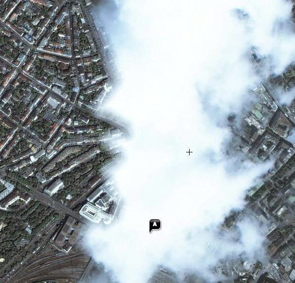 Vista del centro de Basilea, Suiza, en Yahoo Maps.