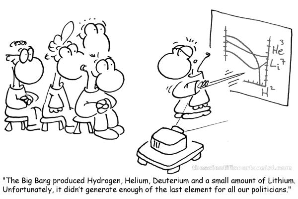 El Big Bang produjo hidrógeno, helio, deuterio y una pequeña cantidad de litio. Desgraciadamente, no generó la suficiente cantidad de este último elemento para todos nuestros políticos.