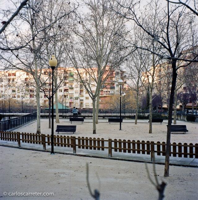 El Parque de la Memoria en Zaragoza. Fotografía tomada con la Yashica Mat 124G sobre negativo en color.
