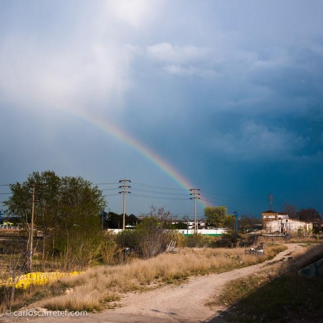 Tarde tormenta en los suburbios de Zaragoza.
