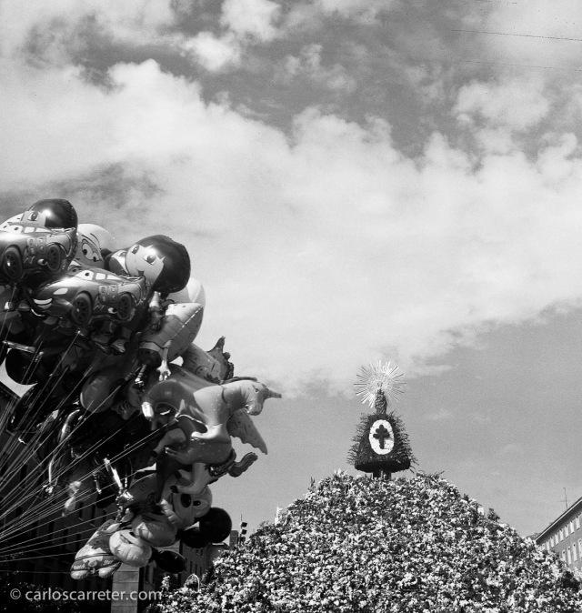 Consecuencias de la ofrenda de flores en la plaza del Pilar de Zaragoza. Fotografía tomada con la Zeiss Ikon Ikonta b sobre negativo en blanco y negro cromogénico.