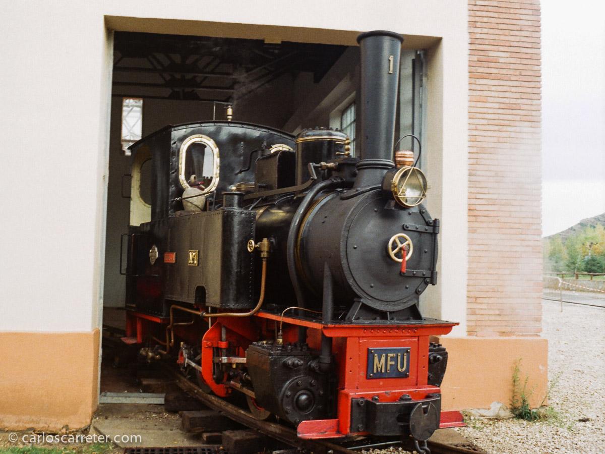 """La """"Hulla"""" calentando caldera antes de ser puesta en servicio. Fotografía tomada con una Minox GT-E sobre negativo en color."""
