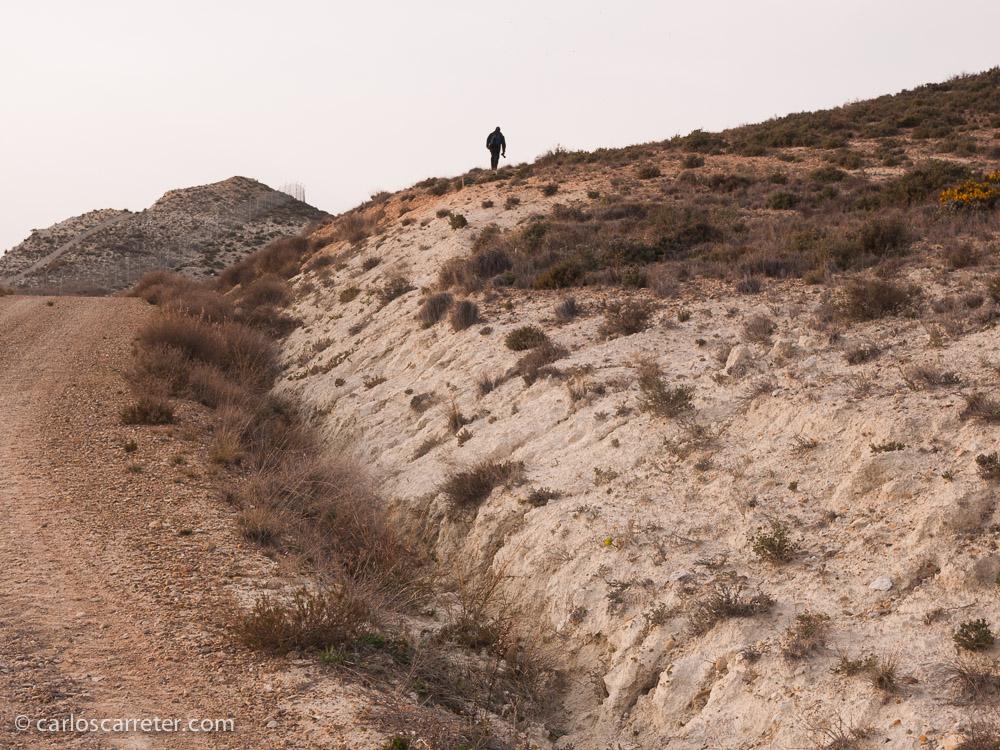 Entre los caminos polvorientos y el monte bajo, un aficionado a la fotografía busca el mejor punto de vista para su futura toma.