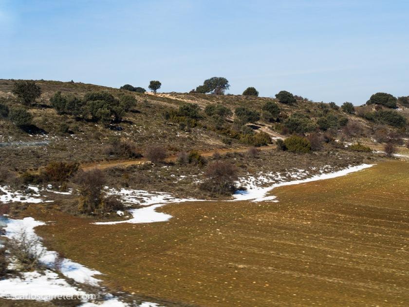 Por el camino, al atravesar la provincia de Soria, encuentro restos de la nevada de los últimos días; como iba distraído leyendo, me pierdo con la cámara los paisajes más vistosos.