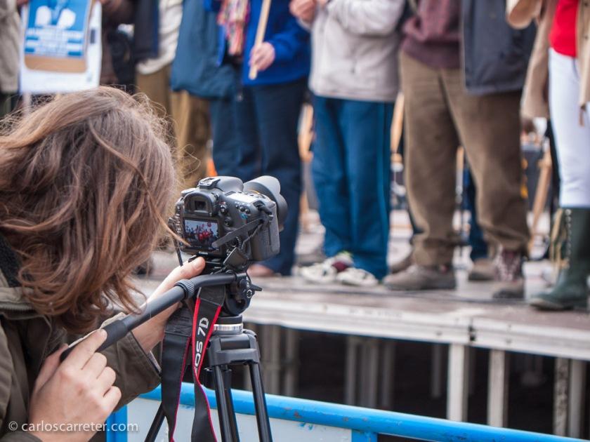 Una 7D de Canon como cámara de vídeo en el acto reivindicativo.