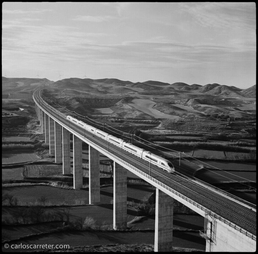 Un AVE sobre el viaducto de Rodén.