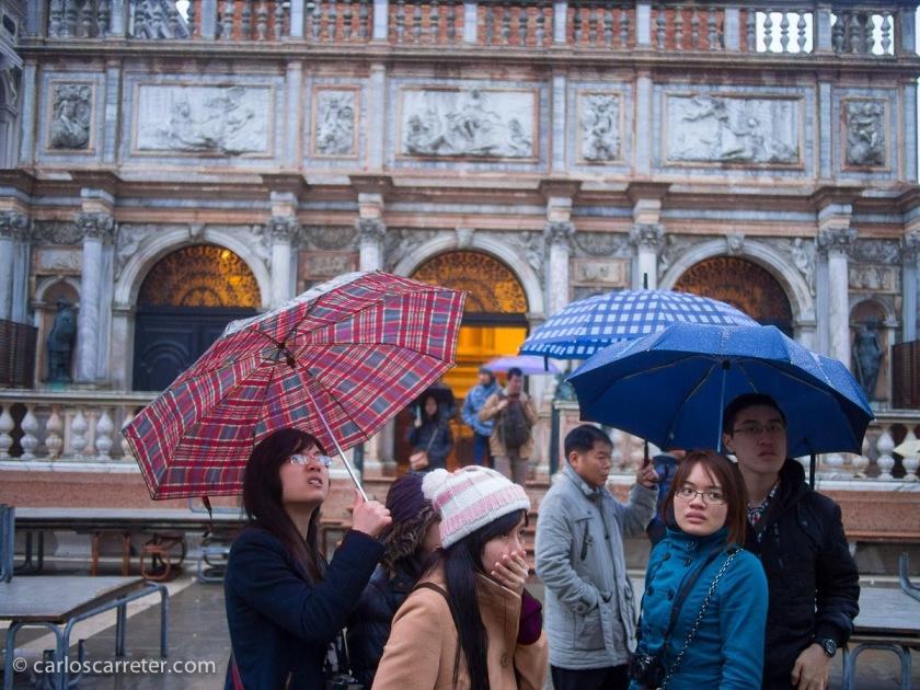 Ante el Campanile y el Palacio Ducal de Venecia.