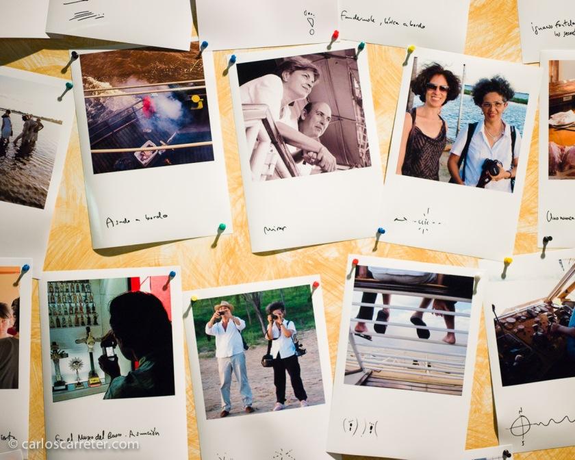Algunas instantáneas de los participantes en el evento, álbum de recuerdos del viaje. Falsas polaroids.