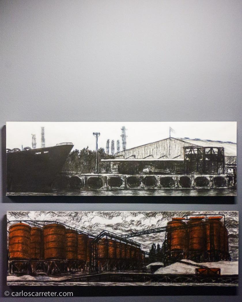 Nos ofrecen algunas muestras del arte que originó el viaje, como estos estupendos carboncillos sobre tela de Félix Eleazar Rodríguez sobre la industrialización a orillas del río.