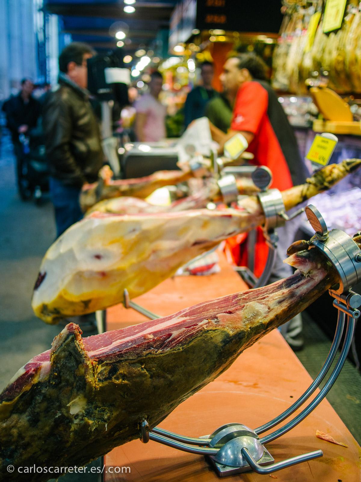 Y la comida... mucha comida,... espero que no os empachen las fiestas (Mercado de la Boquería).
