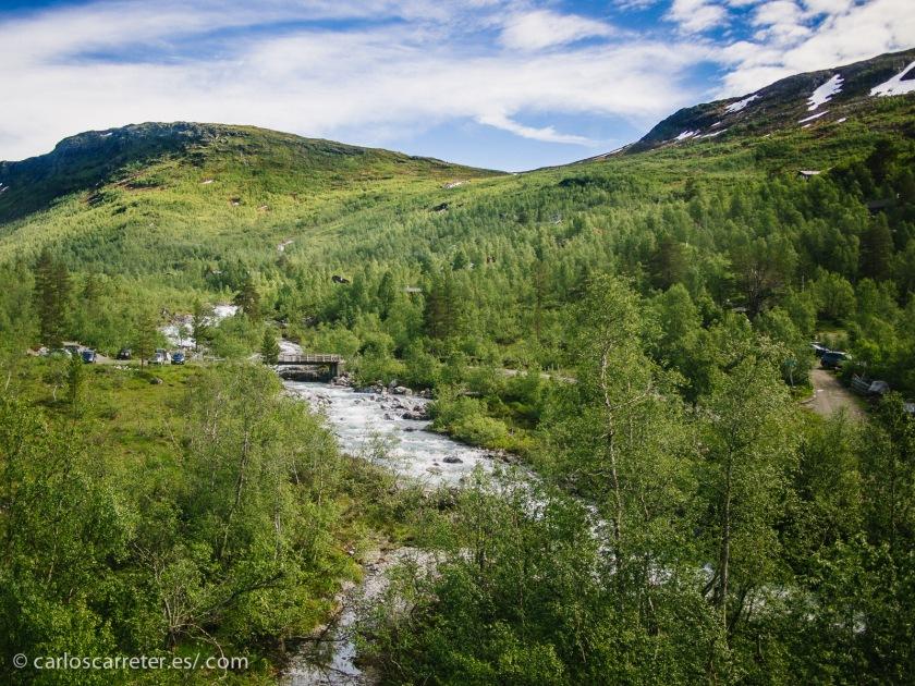 No hay que asustarse, que no demasiado lejos de esas nieves encontramos el verano noruego en todo su verde esplendor.