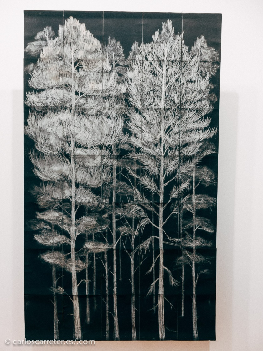 Uno de los Wooden Trees de Beatriz Pellés en la Sala Lateral del IAACC Pablo Serrano.