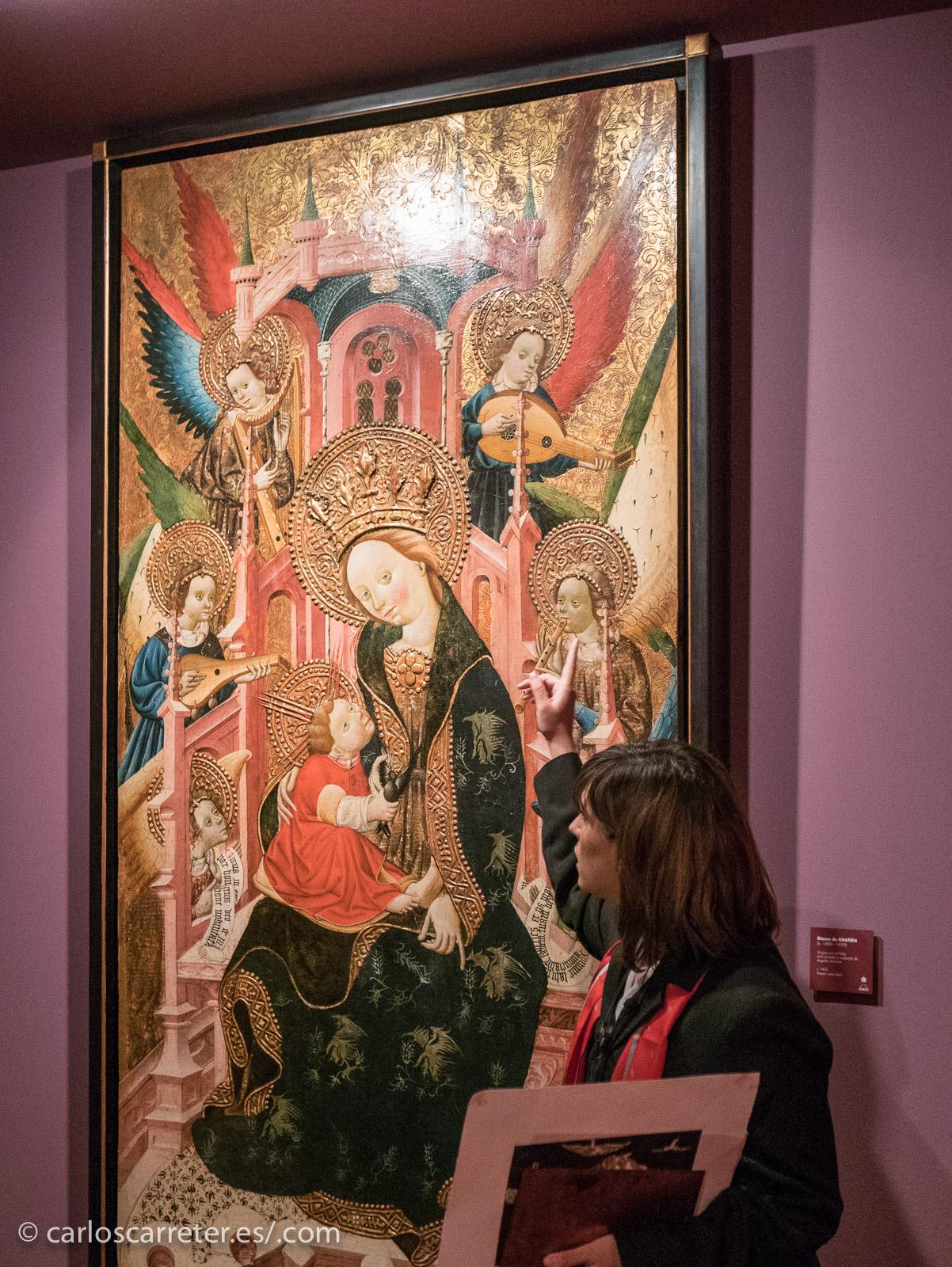 """Explicaciones sobre """"La Virgen entronizada"""" de Blasco de Grañén."""