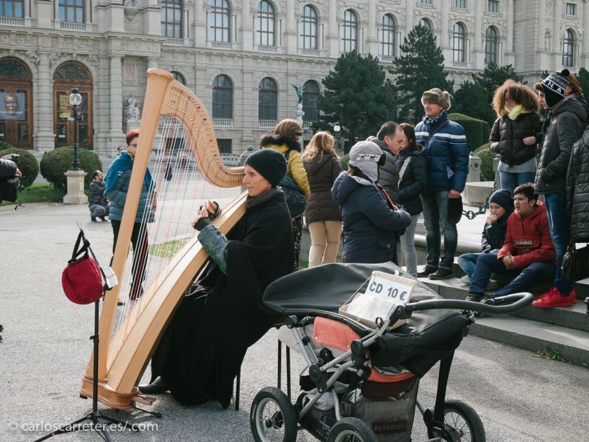 De camino al tranvía para volver al hotel a por el equipaje, pasamos por Marie-Theresien Platz, con música de arpa incluída.